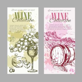 Wijn wijngaard label set