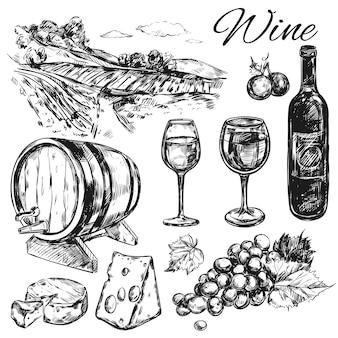 Wijn wijngaard set