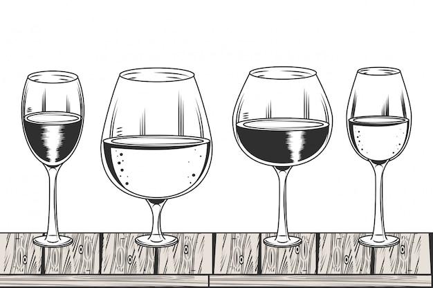 Wijn zwart en wit tekenen