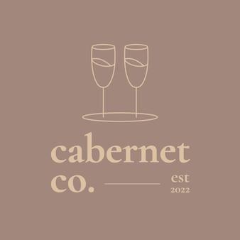 Wijnbar logo sjabloon met minimaal wijnglas