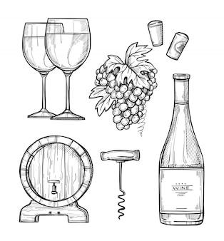 Wijnbereiding hand getrokken set