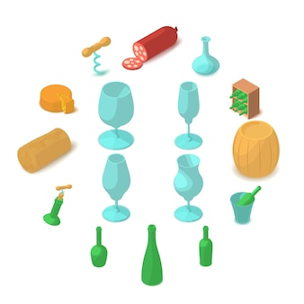 Wijnbereiding iconen set, cartoon stijl