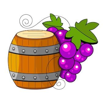 Wijnbereidingsproducten in schetsstijl. vectorillustratie met wijnvat, glas, druiven, druiventakje, karaf. klassieke alcoholische drank.