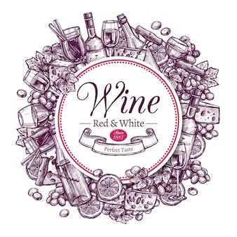 Wijncollectie met voorbeeldtekst versierd handgetekende gravure schets