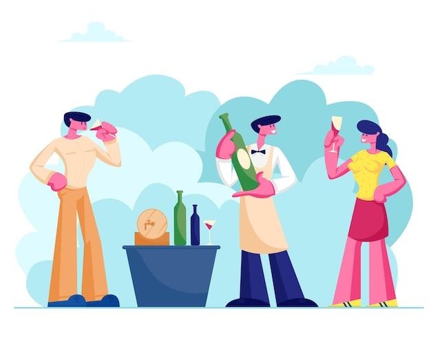 Wijndegustatie met deskundig sommelier-karakter, en man en vrouw met wijnglazen die alcoholische dranken proeven