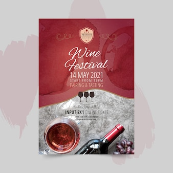 Wijnfestival poster sjabloon