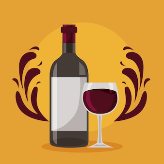 Wijnfles glazen beker spatten