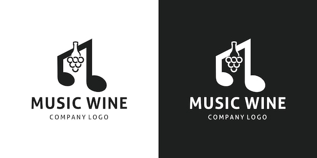 Wijnfles negatief muzieksymbool logo design