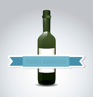 Wijnfles over grijze achtergrond vectorillustratie