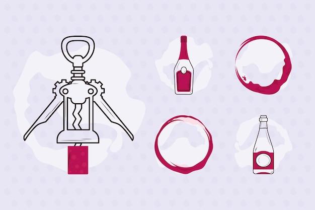 Wijnflessen pictogrammen decorontwerp