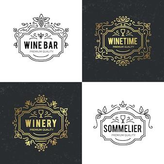 Wijnglas en druiven vintage belettering achtergrond