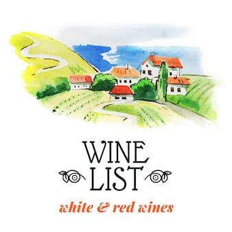 Wijnkaart. hand getrokken schets en aquarel illustratie. menu ontwerp