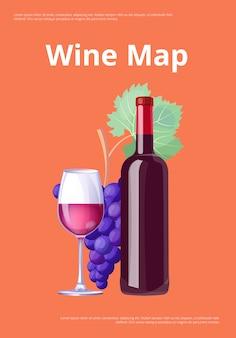 Wijnkaart rode wijnfles en glas merlot illustratie