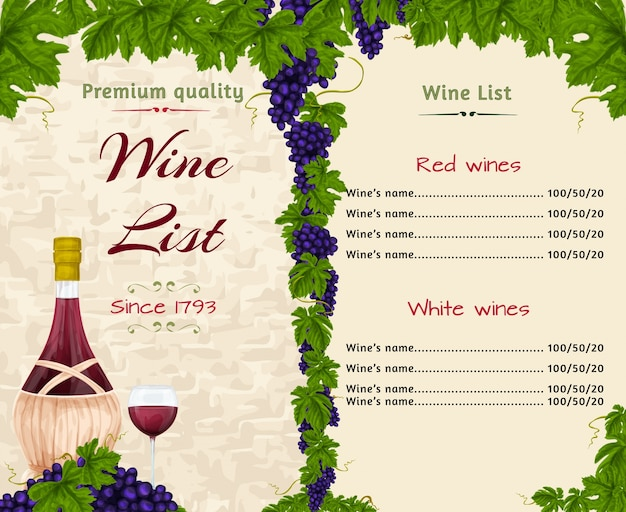 Wijnlijst sjabloon