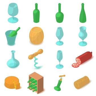 Wijnmaak pictogrammen instellen. beeldverhaalillustratie van 16 wijnbereidings vectorpictogrammen voor web