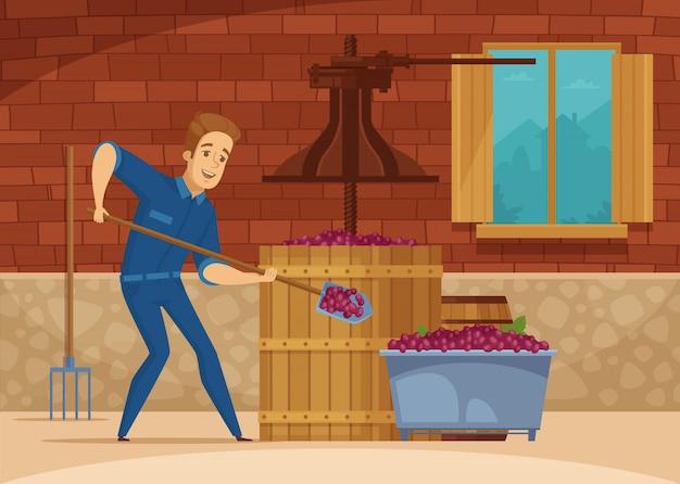 Wijnmakerij druiven verpletterende cartoon poster