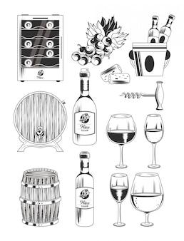 Wijnmakerij en wijn pictogrammen