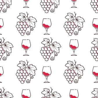 Wijnmakerij en wijnproeverij degustatie patroon vector