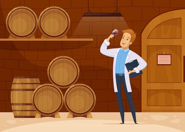 Wijnmakerij opslag kelder cartoon poster