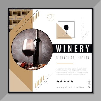 Wijnmerk kwadraat flyer-sjabloon