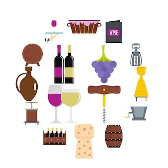 Wijnpictogrammen in vlakke stijl worden geplaatst die