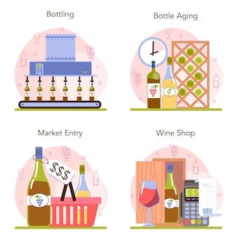 Wijnproductie concept set. druivenwijn in flessen te koop.