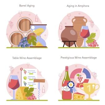 Wijnproductie concept set. wijn rijping in een houten vat of klei amfora.