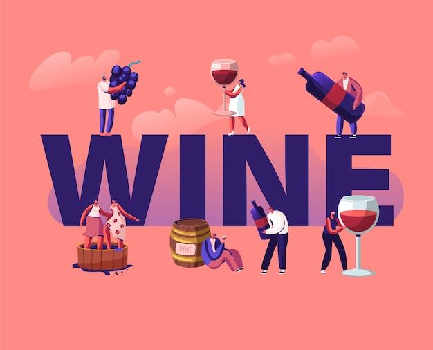 Wijnproductie en drinkconcept. cartoon vlakke afbeelding
