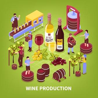 Wijnproductie samenstelling wijngaard persen van druiven botteltransporteur en veroudering in vaten isometrisch