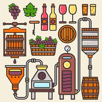 Wijnproductielijn of wijnmakerij.