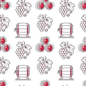 Wijnproeven en wijnmakerij naadloos patroon maken