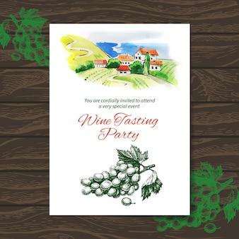 Wijnproeverij feestkaart. vectorontwerp met waterverfillustratie