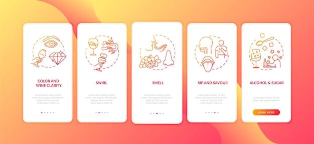 Wijnproeverij onboarding mobiele app paginascherm met concepten. zoete drank. wijnmaken bij wijngaard 5 stappen grafische instructies. ui-vectorsjabloon met rgb-kleurenillustraties