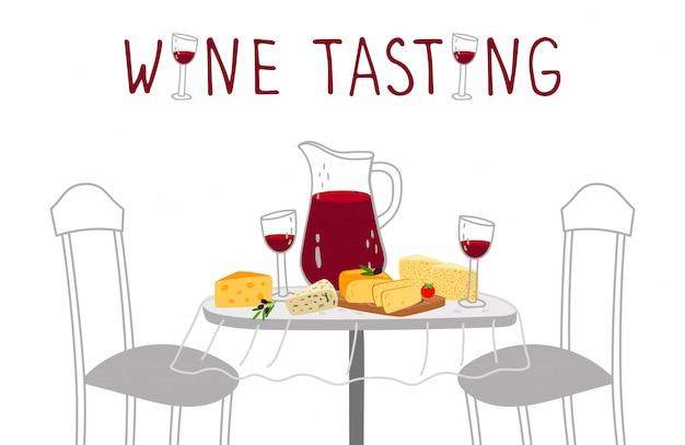 Wijnproeverij poster. rode wijn, kaas vectorillustratie. ambachtelijke drankjes en proeverij van boerenkazen