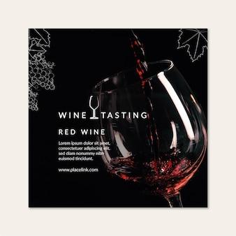 Wijnproeverij vierkante sjabloon folder