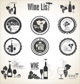 Wijnstok lijst labels