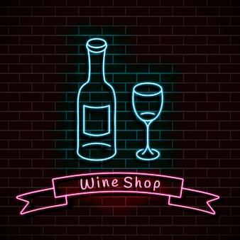 Wijnwinkel. neon blauw bord. lichte banner op een bakstenen muur.