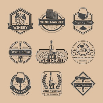 Wijnwinkel vintage geïsoleerde label set