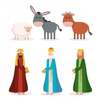Wijze koningen en dieren kribbe karakters