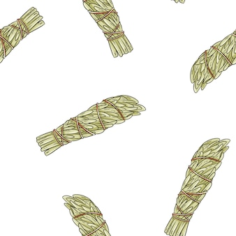 Wijze smudge steekt hand-drawn boho naadloos patroon aan. bijvoet kruidenbundel