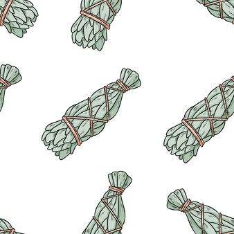 Wijze smudge steekt hand-drawn boho naadloos patroon aan. salie kruidenbundel