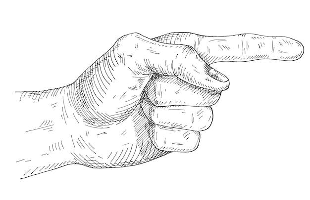 Wijzende vinger. vintage monochroom broedeieren vectorillustratie geïsoleerd op een witte achtergrond. handgetekend ontwerpelement voor t-shirt