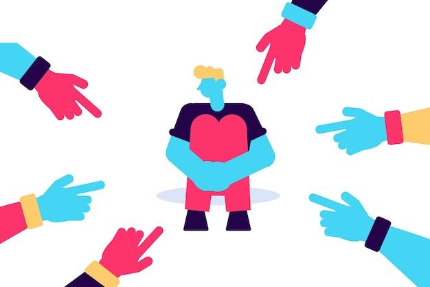 Wijzende vingers van haters gericht op een droevig personage dat zijn knieën omhelsde