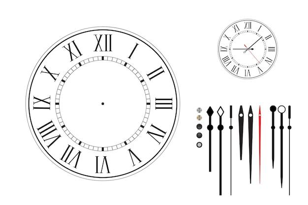Wijzerplaat in retro stijl met romeinse cijfers. constructor set. verschillende soorten uurwijzers. zwarte wijzerplaat op witte achtergrond