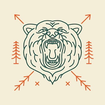 Wild bear head