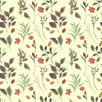 Wild bloemen en bladeren aquarel naadloze patroon achtergrond