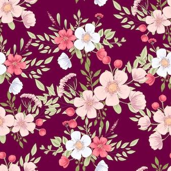 Wild bloemen naadloos patroon. hand tekening vectorillustratie