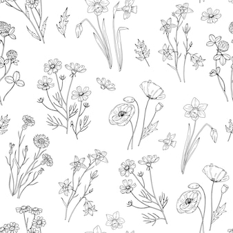 Wild bloemenpatroon. bloemen naadloos behang met wilde bloemen. vintage stof.