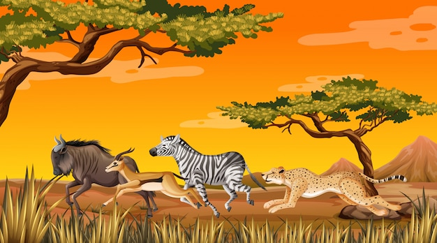 Wild dier met savanne Premium Vector