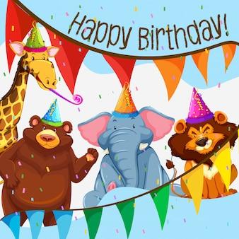 Wild dierlijk verjaardagsfeestje